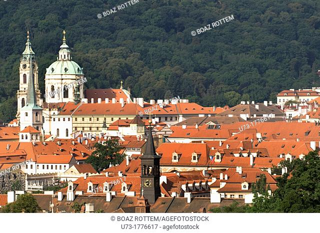 A view of Mala Strana and the church of St  Nicholas in Prague