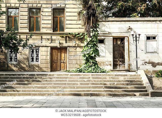 baku city old town street view in azerbaijan