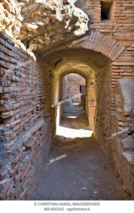 Theatre passageway at Ostia Antica archaeological site, Rome, Italy, Europe