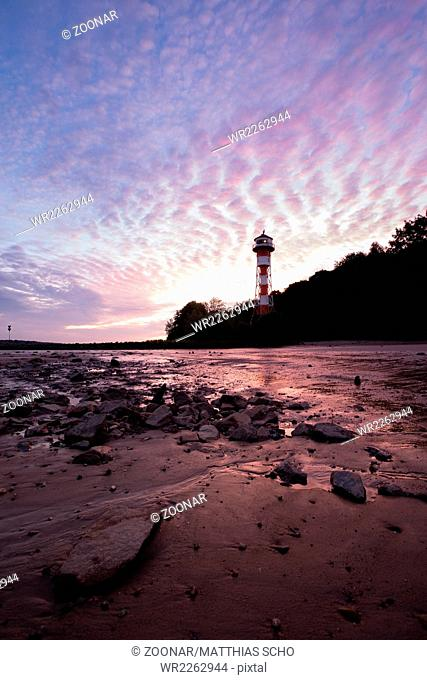 Lighthouse Wittenbergen on Elbe River, Hamburg, DE