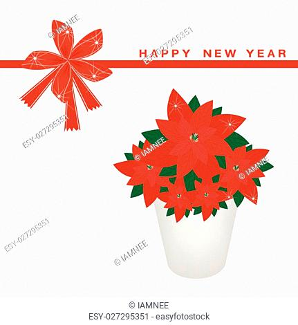 An Illustration A Beautiful Christmas Poinsettia Flower in Flowerpot on Greeting Card, Sign for Christmas Celebration
