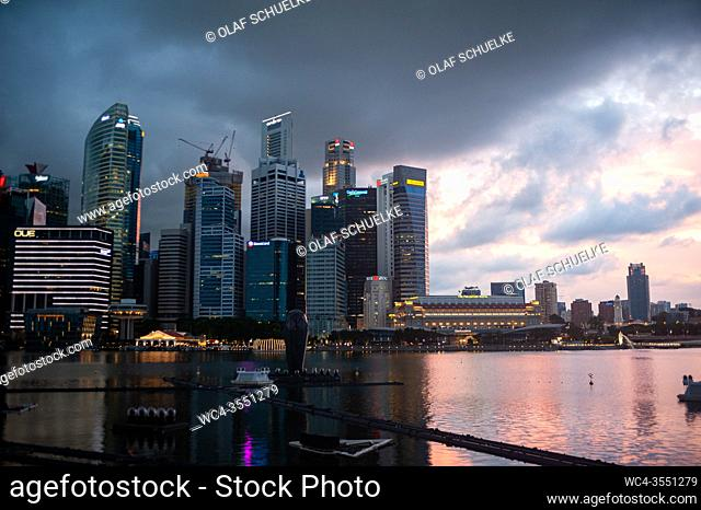 Singapore, Republic of Singapore, Asia - View of the illuminated city skyline with its skyscrapers of the central business district at Marina Bay during the...