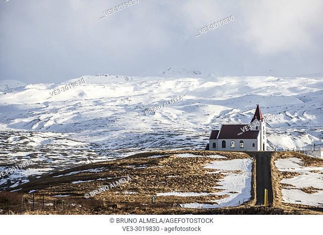 Ingjaldshóll church in Hellisandur, Snæfellsnes peninsula (region of Vesturland, Iceland)