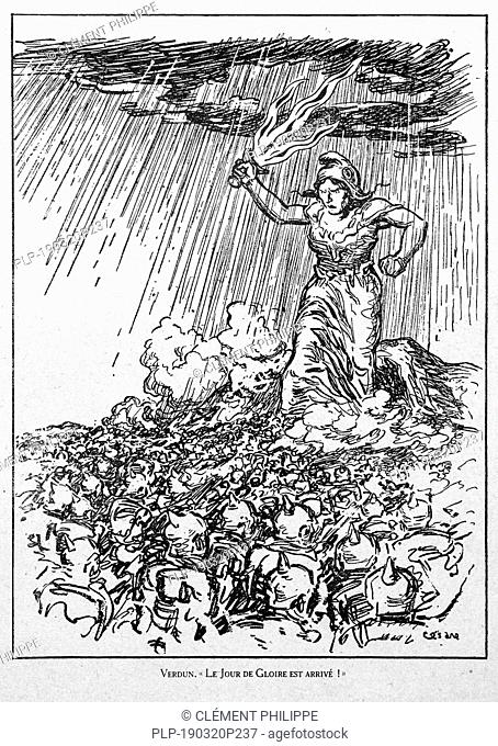Verdun. Le Jour de Gloire est Arrivé, WW1 caricature by illustrator Cesare showing Marianne, national symbol of the French Republic at the Verdun battlefield