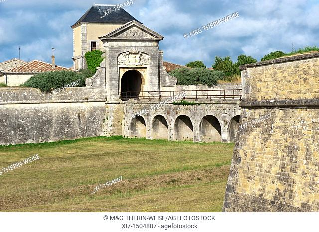 Saint Martin fortification, Designed and constructed by Vauban, Door of the Campani, Ile de Re, Charentes Maritime department, France, Europe