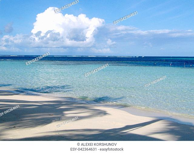 Amazing white coral sand beach at one of the Maldivian islands