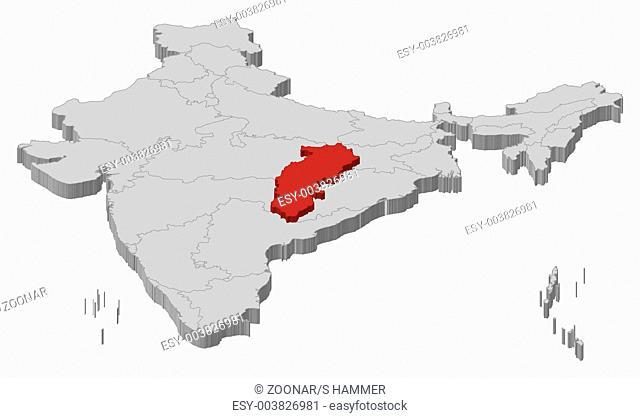 Map of India, Chhattisgarh highlighted