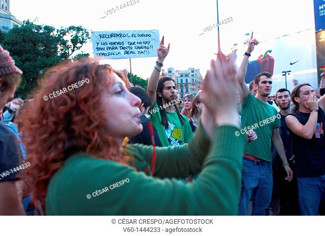 -Demonstration Indignants Movement of 15M- Catalonian Square in Barcelona (Spain)