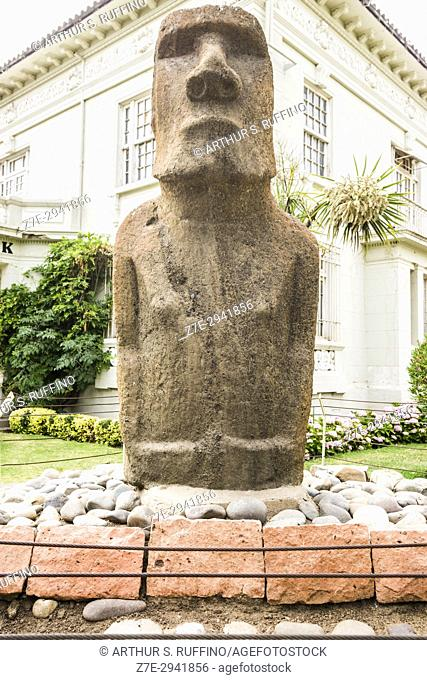 Easter Island Moai statue, Fonck Museum of Archaeology and History, Viña del Mar, Valparaiso Region, Chile, South America
