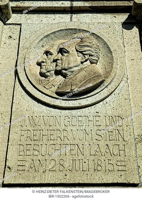 Plaque with images of Johann Wolfgang von Goethe and Freiherr vom Stein, Kloster Maria Laach monastery, Rhineland-Palatinate, Germany, Europe