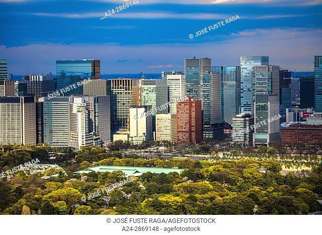 Japan, Tokyo City,  Imperial East Gadens ,Marunouchi district skyline