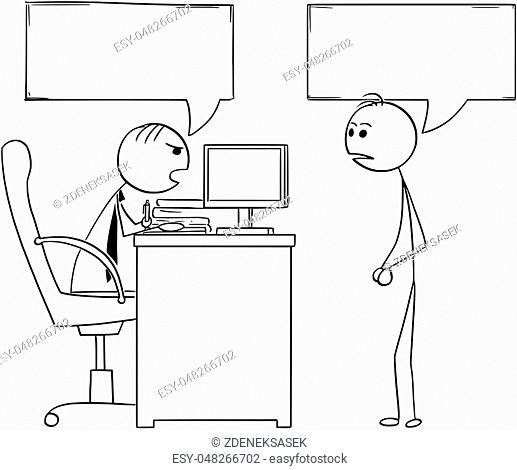 Cartoon illustration of stick man manager boss sitting in his office and talking to male employee.Two empty speech bubbles or balloons above their heads