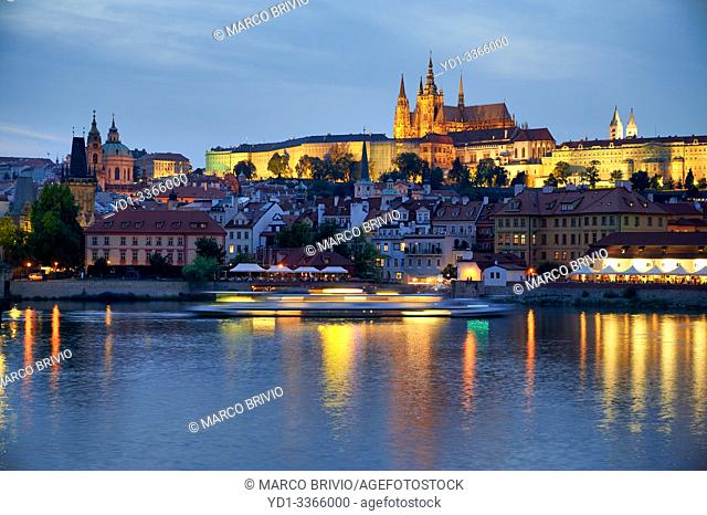 Prague Czech Republic. The castle (hrad), and Vltava river (Moldava) at sunset
