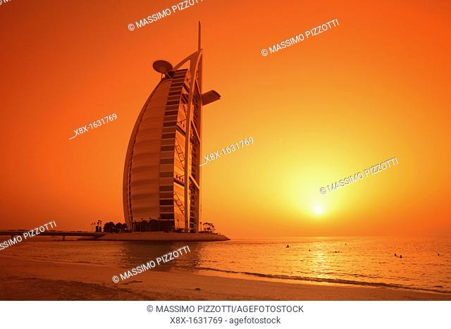 Burj Al Arab hotel at sunset, Dubai, United Arab Emirates UAE
