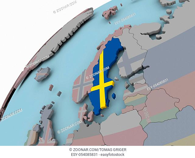 Sweden on political globe with embedded flags. 3D illustration