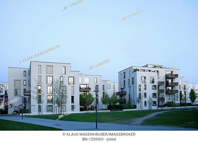 Modern housing in Munich, altes Messegelaende, Munich, Bavaria, Germany, Europe