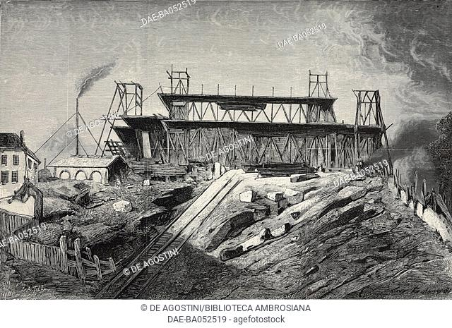 Construction work at the Sacred Heart Basilica in Montmartre, Paris, France, engraving by Auguste Tilly, from L'Illustration, Journal Universel, No 2064