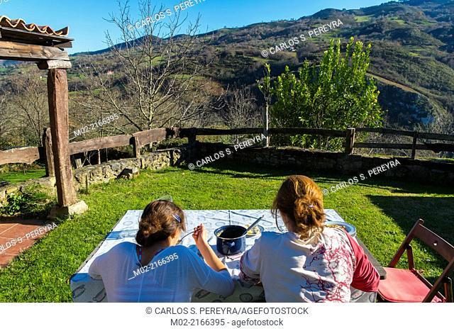 Picos de Europa. Lunch in the countryside, Asturias, Spain