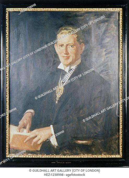 'Sir Angus Newton Scott Scott', 1932. Half-length portrait of a confident-looking man in spectacles, holding a book. Round his neck he wears the coat of arms of...