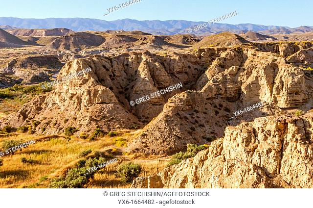 A landscape of the Tabernas Desert in Almeria province, Andalucia, Spain