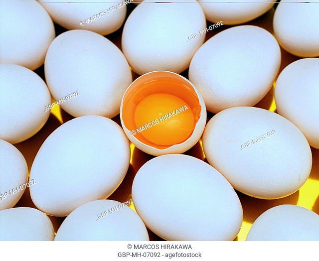 eggs, whole, broken, yolk