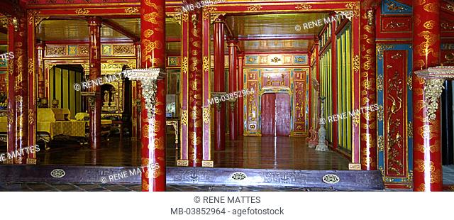 Vietnam, Hue, hall of the highest harmony, Asia, southeast-Asia, city, sight, landmarks, culture, serve Thai Hoa temples palace, emperor-palace, column-hall