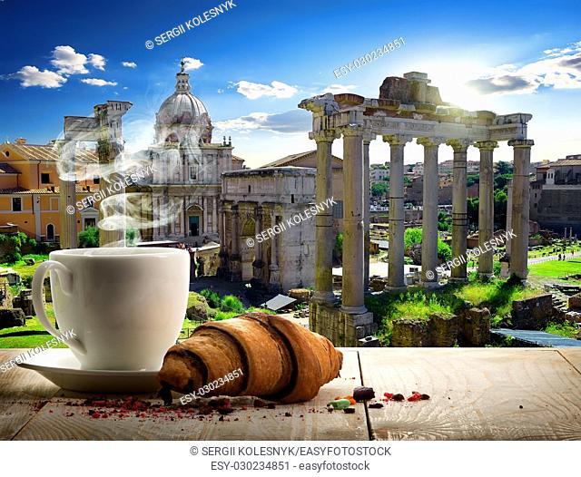 Coffee break in Roman Forum at sunny day, Italy