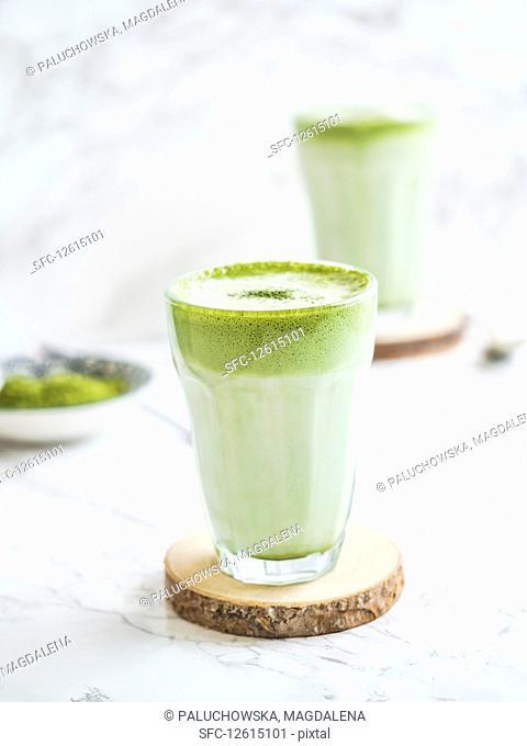 Vegan matcha lattes with coconut milk