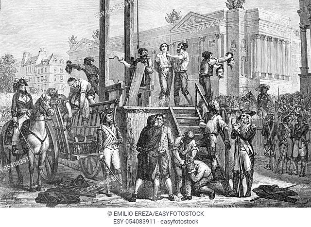 Execution by guillotine of Maximilien Robespierre (born 1758, died 1794), and Louis Antoine de Saint-Just (born 1767, died 1794)