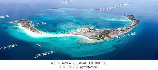 Aerial view Tropical beach of island Cayo de Agua, Los Roques, Venezuela