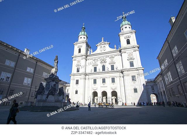 SALZBURG AUSTRIA ON APRIL 17, 2019: Historic town of Salzburg with Salzach river Austria . Cathedral square (Domplatz)