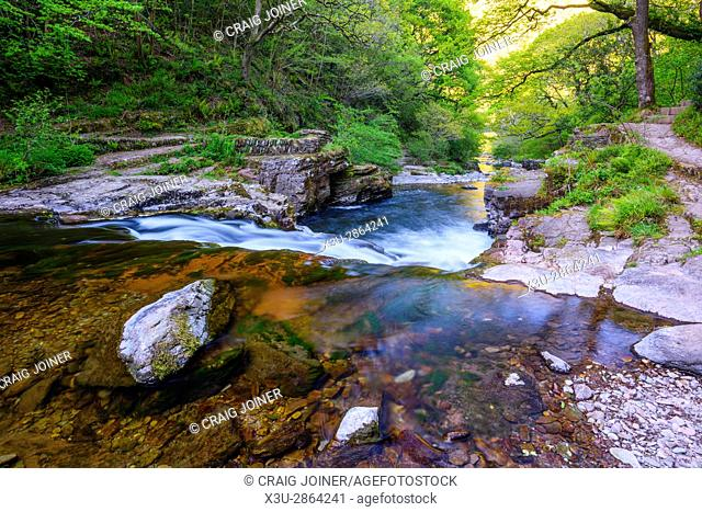 The East Lyn River at Watersmeet near Lynmouth in Exmoor National Park, Devon, England