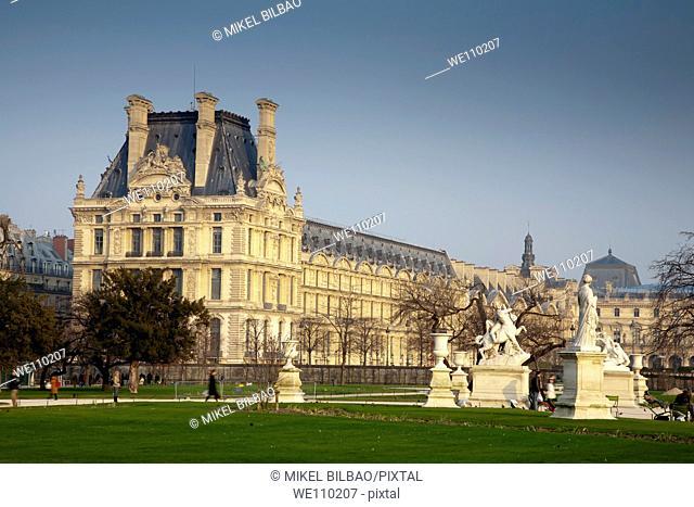 Louvre museum from Tuileries Garden  Paris, France