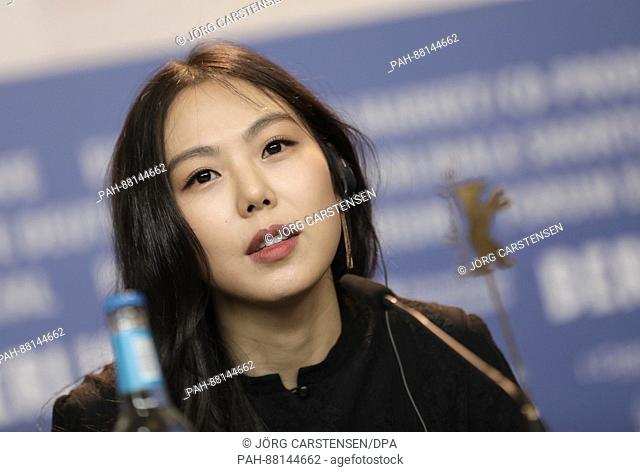 Actress Kim Minhee at the 67th Berlinale Film Festival for the photocall for the South Korean film 'On the Beach at Night Alone' (Bamui Haebyun-Eoseo Honja) in...