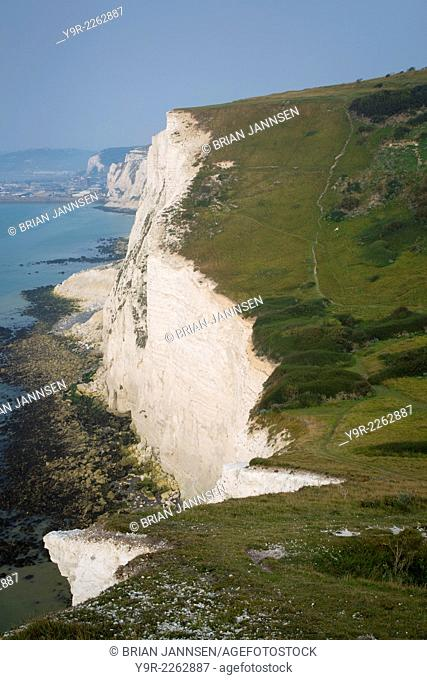 Misty morning over the White Cliffs of Dover, Kent, England