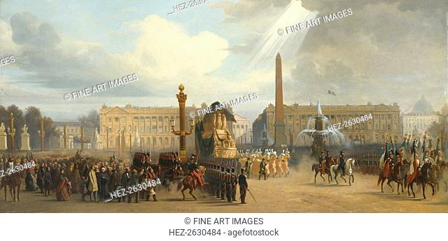 Napoleon's funeral carriage crosses the Place de la Concorde, December 15, 1840, 1844. Artist: Guiaud, Jacques (1810-1876)