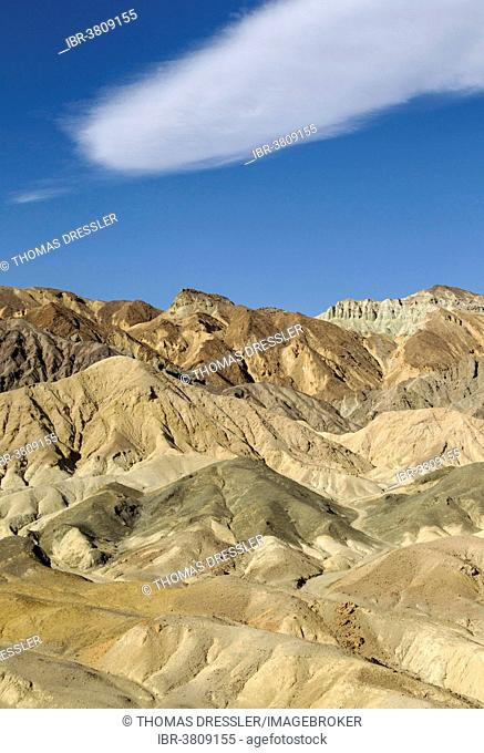 Badlands, eastern face of the Black Mountains in the Twenty Mule Team Canyon, Death Valley, Death Valley National Park, California, USA