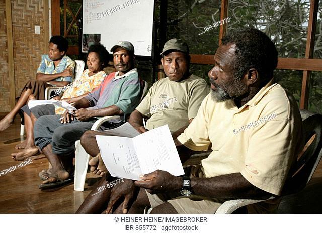 A gathering of the Conversation Initiative Ramu Bismark group, Madang, Papua New Guinea, Melanesia