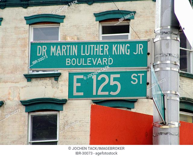 USA, United States of America, New York City: Streetsign 125th Street in Harlem, Dr. Martin Luther King JR Boulevard