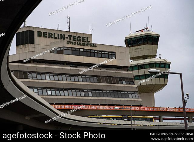 27 September 2020, Berlin: Grey clouds hang over Tegel Airport. The opening date of the new airport BER is scheduled for 30 October 2020 and is currently...