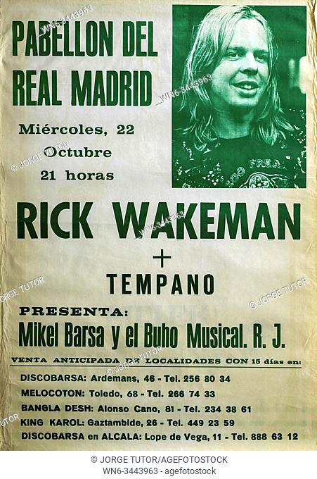 Rick Wakeman, Madrid 1986 tour, Musical concert poster
