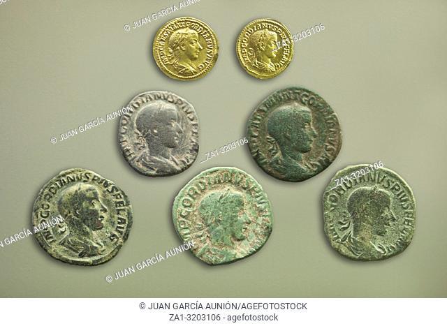Merida, Spain - December 20th, 2017: Roman Emperor Gordian III coins, 243 AC, National Museum of Roman Art in Merida, Spain