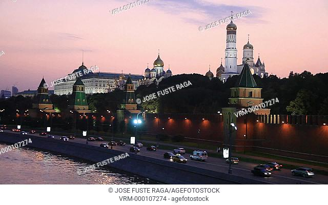Rusia , Moscow City, Sunset at Moscow River , the Kremlin skyline