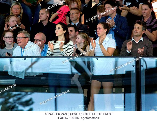 Crown Prince Frederik (R) and Crown Princess Mary (C) of Denmark attend the qualification regatta Danish Open at the Bellahoj Swimming Stadium, Denmark