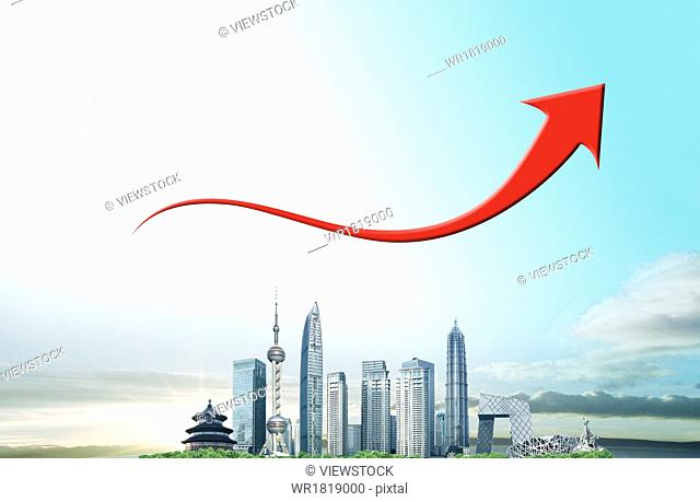 The red arrow above the China urban construction