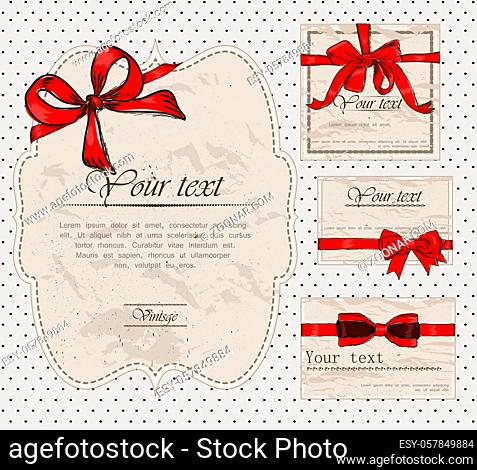 Set of vintage gift bows. Vector illustration EPS8