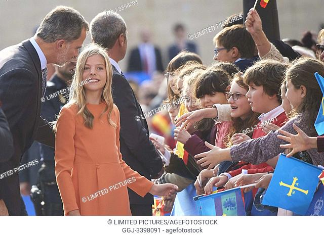 King Felipe VI of Spain, Princess Sofia arrived to Alfonso II Square (Cathedral's Square) for Princesa de Asturias Awards 2019 on October 17, 2019 in Oviedo