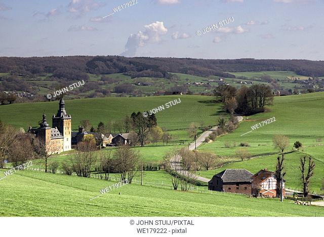 Beusdael castle near Sippenaeken seen from above the surrounding hills in the Dutch region Voeren