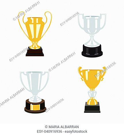 Gold and silver cup trophies set. Vector illustration