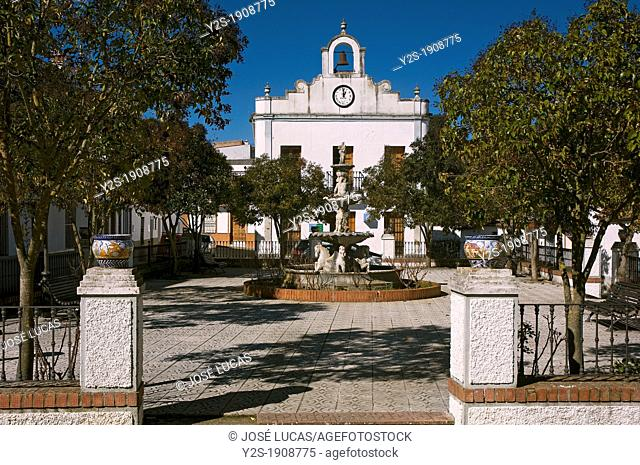 Square and library, La Nava, Huelva-province, Spain
